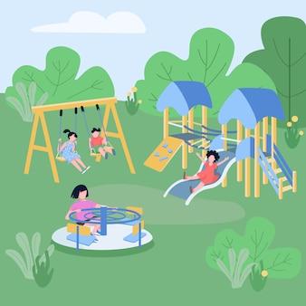 Los niños juegan zona de color plano ilustración vectorial.
