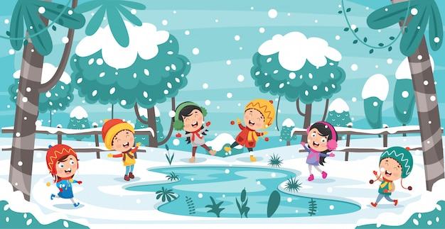 Niños jugando afuera en invierno