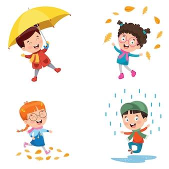 Niños jugando afuera en la temporada de otoño