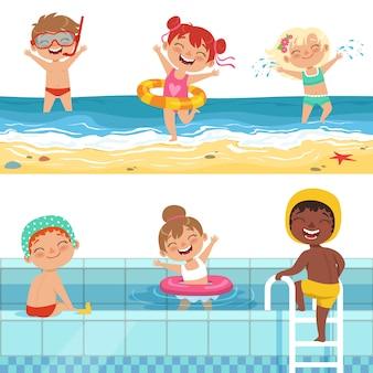 Niños jugando en el agua, personajes aislados.