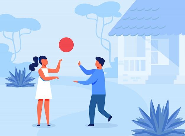 Niños jugando al aire libre ilustración plana