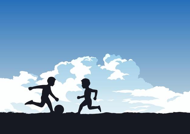 Niños jugando al fútbol ilustración