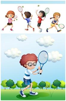 Niños jugando al tenis en la ilustración del parque