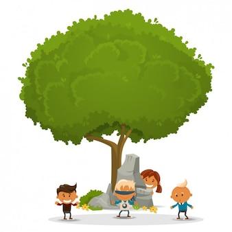 Niños jugando alrededor de un árbol