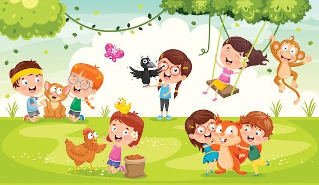 Niños jugando con animales graciosos