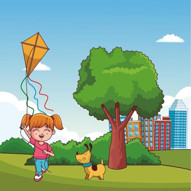 Niños jugando en caricaturas del parque
