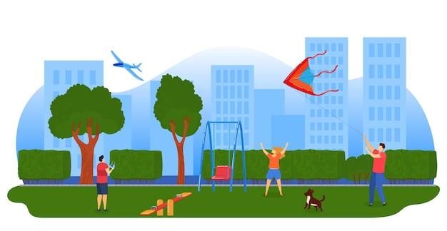 Niños jugando cometas, ilustración de avión. niños volando cometas en el parque de la ciudad.