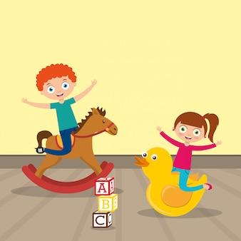 Niños jugando dibujos animados