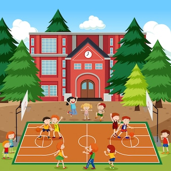 Niños jugando escena de baloncesto
