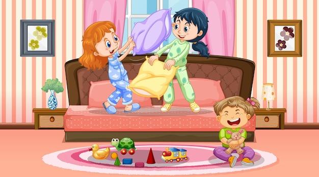 Niños jugando en la escena del dormitorio.