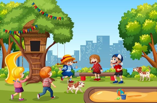 Niños jugando en la escena del patio de recreo.