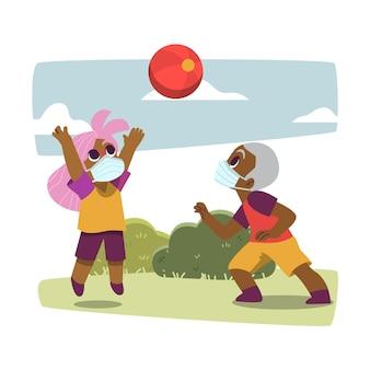 Niños jugando durante el estilo de cuarentena