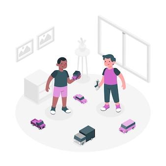 Niños jugando con ilustración de concepto de juguetes de coche