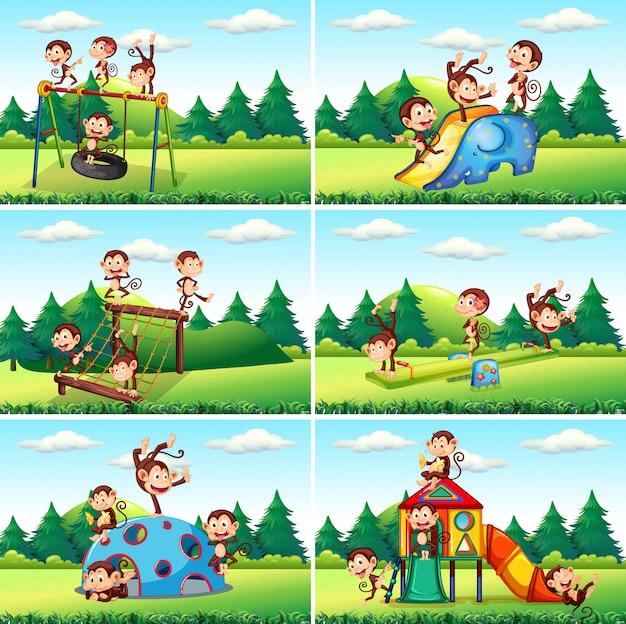 Niños jugando en la ilustración del patio