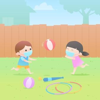 Niños jugando ilustración