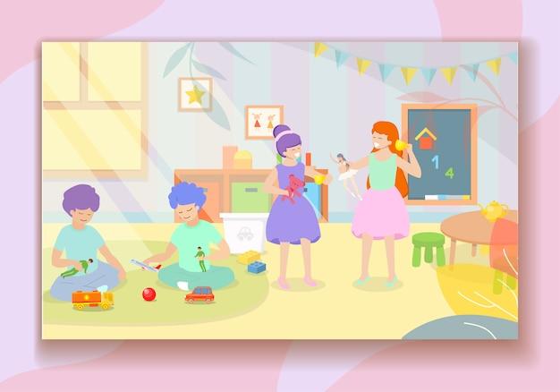 Niños jugando en el jardín de infantes. galope de guardería
