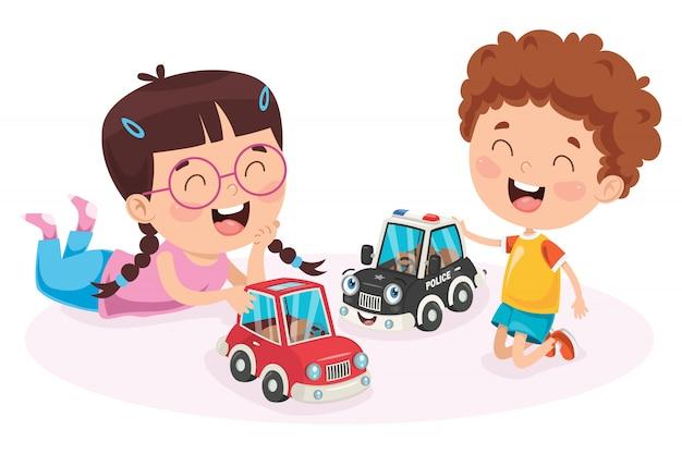 Niños jugando con juguetes de coches de carreras