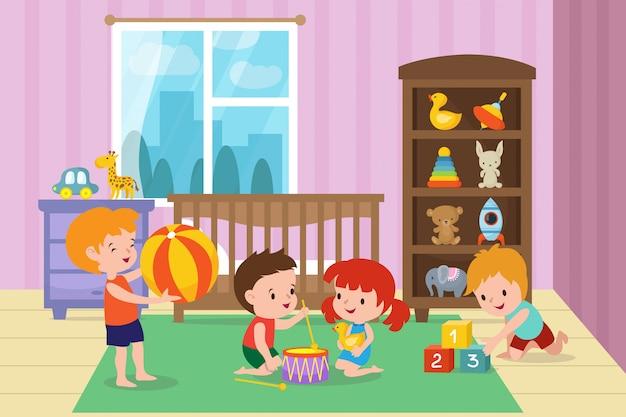 Niños jugando con juguetes en la sala de juegos de la ilustración vectorial de jardín de infantes