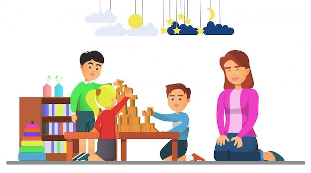 Niños jugando juntos con su maestra