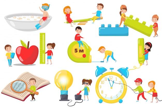 Niños jugando, midiendo, experimentando y leyendo set, actividades preescolares y dibujos animados de educación de la primera infancia ilustraciones