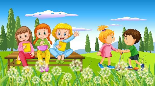 Niños jugando en la naturaleza al aire libre.