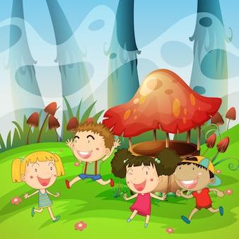 Niños jugando en el parque.