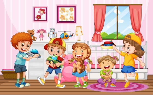 Niños jugando con sus juguetes en casa.
