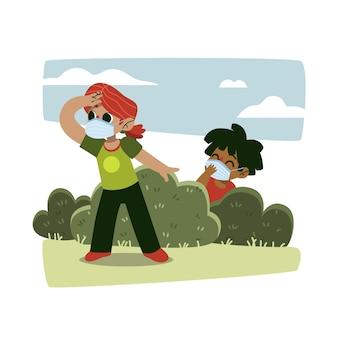 Niños jugando durante el tema de cuarentena