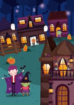 Niños jugando trick or treat en halloween