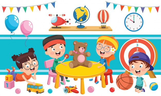 Niños jugando con varios juguetes