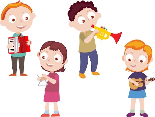 Niños jugando vector de música Vector Premium