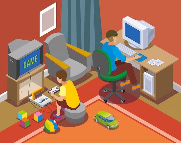 Niños jugando con videojuegos y computadora