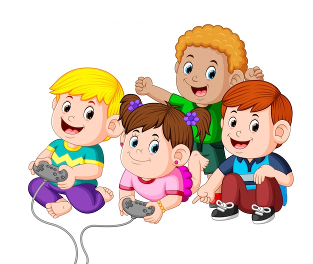 Niños jugando videojuegos juntos Vector Premium