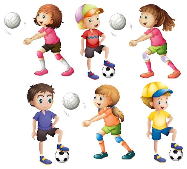 Niños jugando voleibol y fútbol.