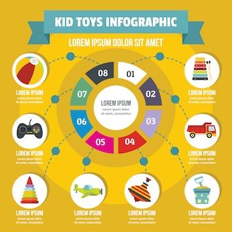Niños juguetes concepto infográfico, estilo plano