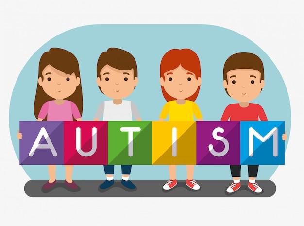 Niños juntos a la campaña del día del autismo
