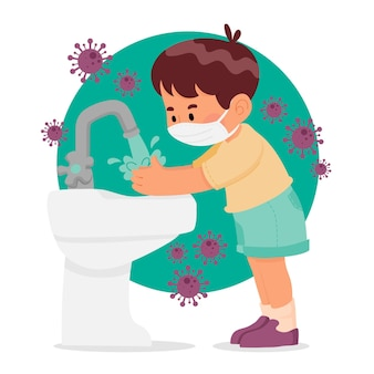 Niños lavándose las manos en la escuela.