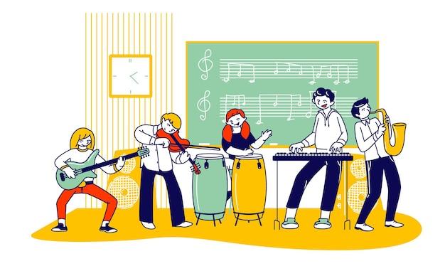 Niños en lección en la escuela de música. ilustración plana de dibujos animados