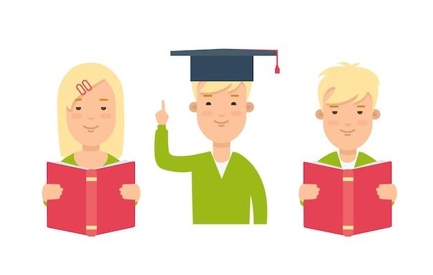 Niños leyendo, aprendiendo, estudiando, haciendo clases, deberes, web plana, infografía, concepto, vector, icono