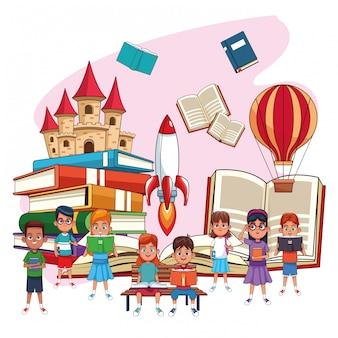 Niños leyendo cuentos de hadas