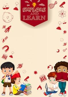 Niños leyendo libros y usando computadora.