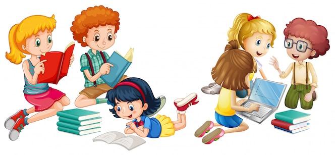 Niños leyendo libros y trabajando en la computadora