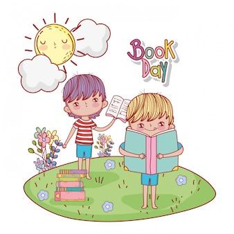 Niños con libro de educación y sol con nubes.