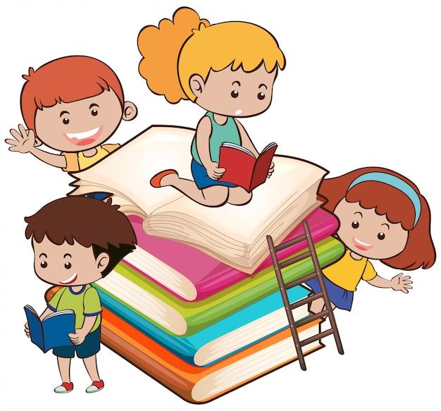 Niños con el libro