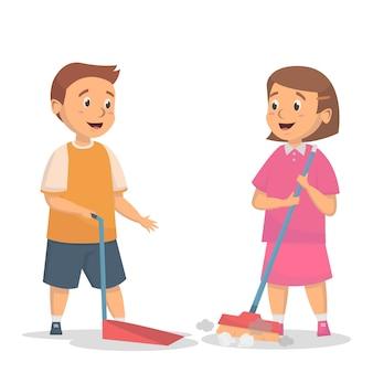 Niños limpieza concepto de piso de barrido de actividad