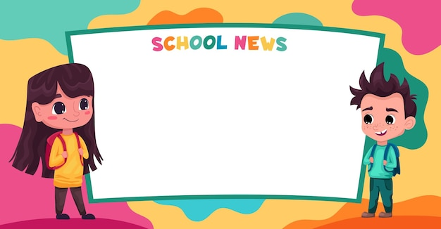 Niños lindos alumnos estudiantes leen noticias escolares espacio para su texto plantilla para folleto publicitario