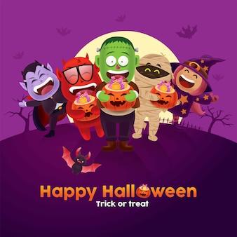 Niños lindos con disfraz de monstruo y fantasma que lleva un cubo de dulces de calabaza de halloween