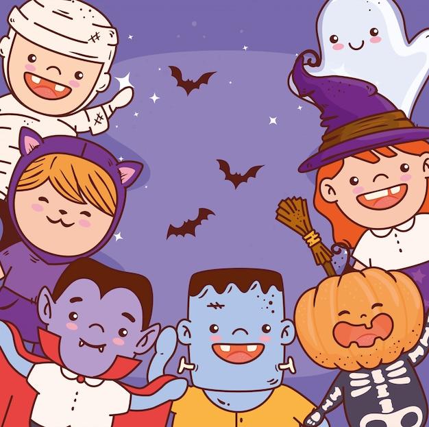 Niños lindos disfrazados de feliz celebración de halloween, diseño de ilustraciones vectoriales