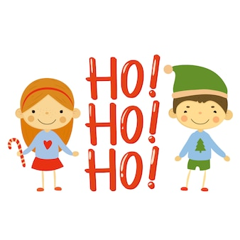 Niños lindos y elementos navideños