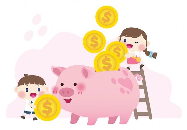 Niños lindos felices ahorrando dinero inversión
